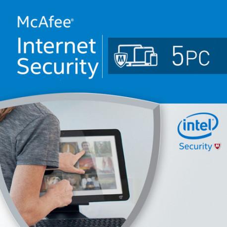 McAfee Internet Security 2017 5 PC licencja na rk